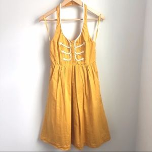 Anthro Floreat Anchors away dress mustard yellow